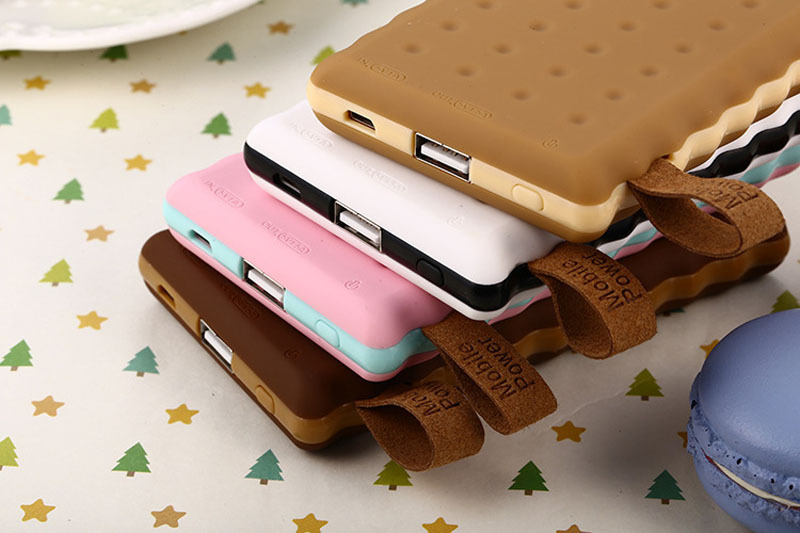 Cookies Biscuit Design external Power Bank 8000mAh USB Mobile Power Battery Charger For iPhone For Samsung xiaomi mobile phone