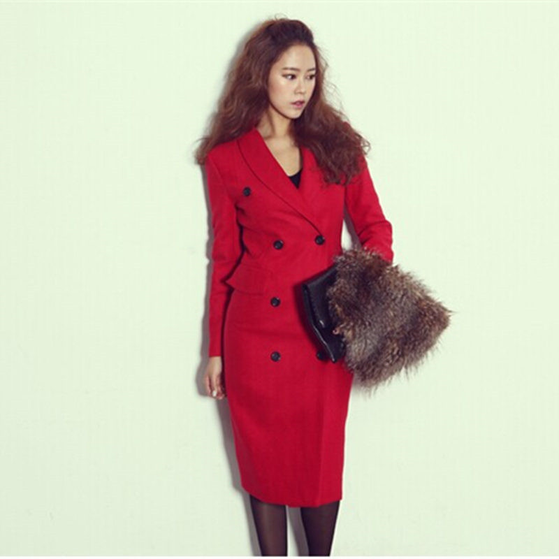 2015 New Design Manteau Women Wool Coat Manteau Femme Double-breasted Trench Coat Cotton Office Fashion Slim Lady Blends dress(China (Mainland))