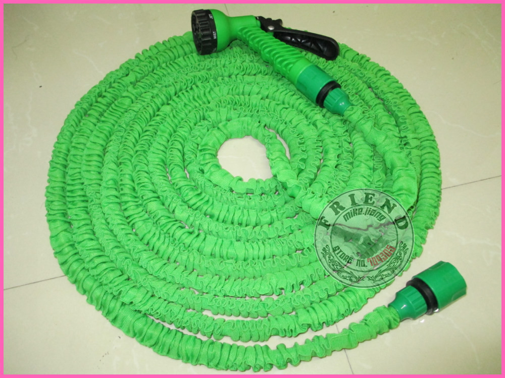 25FT hose 500pcs/lot blue and green color Stretchy Garden Hoses Expandable Flexible Water Hose Free shipping+Drop shipping(China (Mainland))