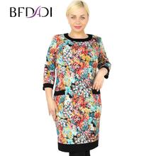 BFDADI 2016 новая весна мода свободного покроя женщины одеваются красочный розы шаблон цветок печатать элегантные платья женская одежда Большой размер 73628 - 2(China (Mainland))
