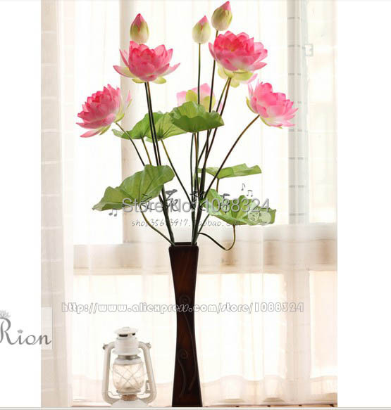 Silk water lily with vase for decor craft fabric real for Real plants for home decor