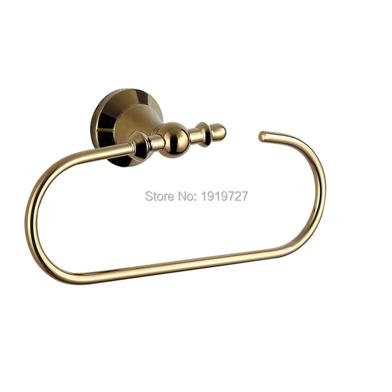 Wholesale Promotions 100% Solid Brass Towel Ring Brass Golden Towel Rack Ring Bath Hardware Bathroom Accessories Wall Mounted(China (Mainland))