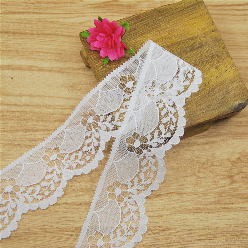 High Quality Elegant 40mm white Lace Fabric Trim Gorgeous Cheap Lace Ribbon DIY Packing Trim Garment Accessories 50yards L360(China (Mainland))