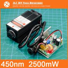 450 nm, 2500 mW 12V High Power Laser Module have TTL,Adjustable Focus Blue Laser module. DIY Laser engraver machine accessories.