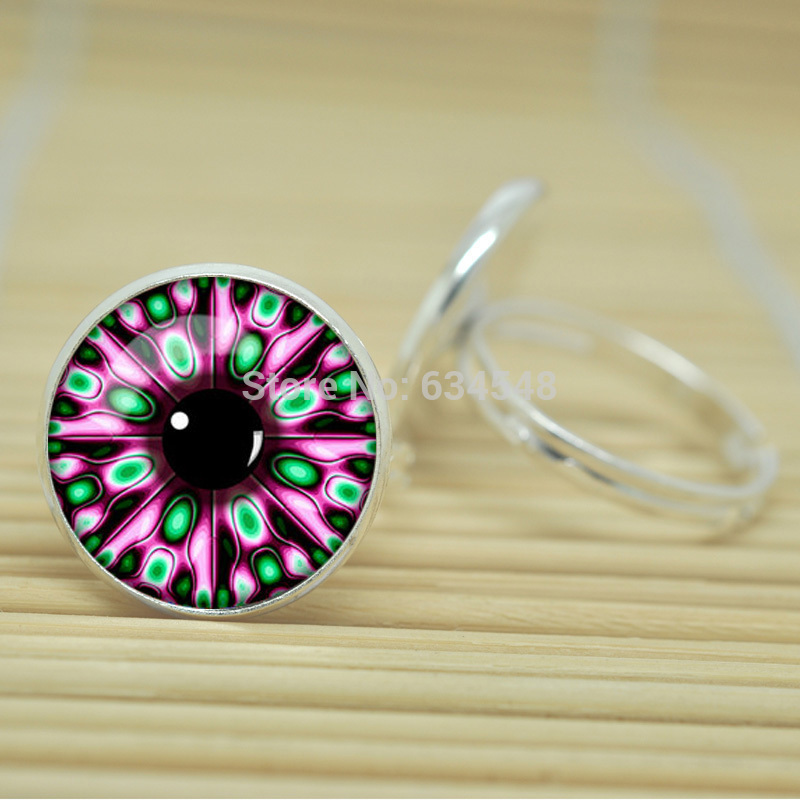 1pcs Neon Fractal jewelry glass Cabochon Adjustable Rings D2545(China (Mainland))