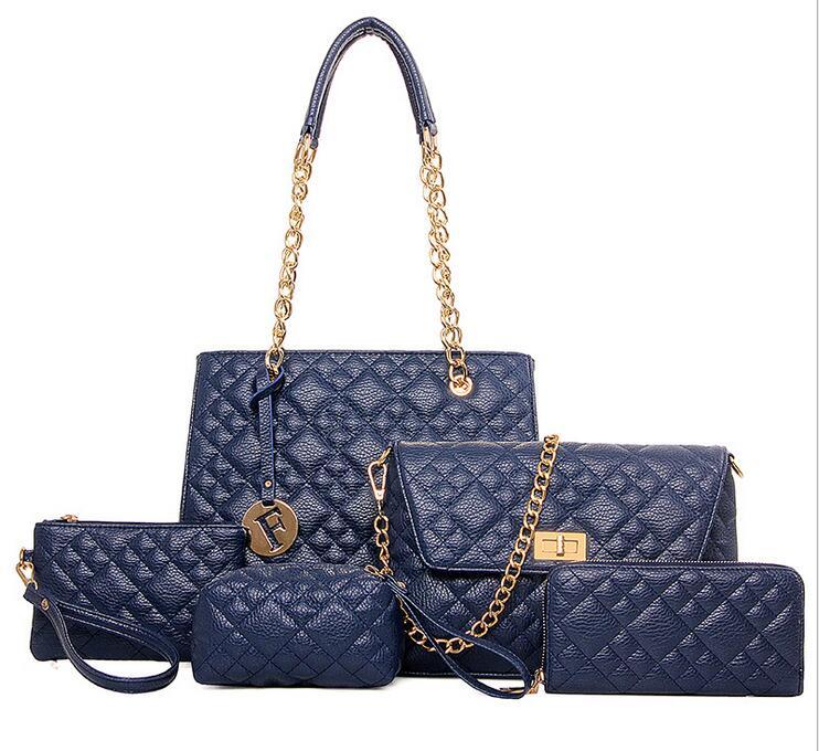 2016 New Diamond Lattice Pattern 5 Bags / Set Women Composite Women Handbags +Crossbody bag + Day clutches+Purse+Tote bag D5632<br><br>Aliexpress