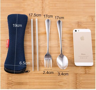 Buy Free Shipping! 2014 New Christmas stainless steel tableware travelling set spoon tea fork knife dinning set cheap