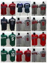 6 Bobby Cox 10 Chipper Jones 24 Deion Sanders Jersey white gray red blue green(China (Mainland))