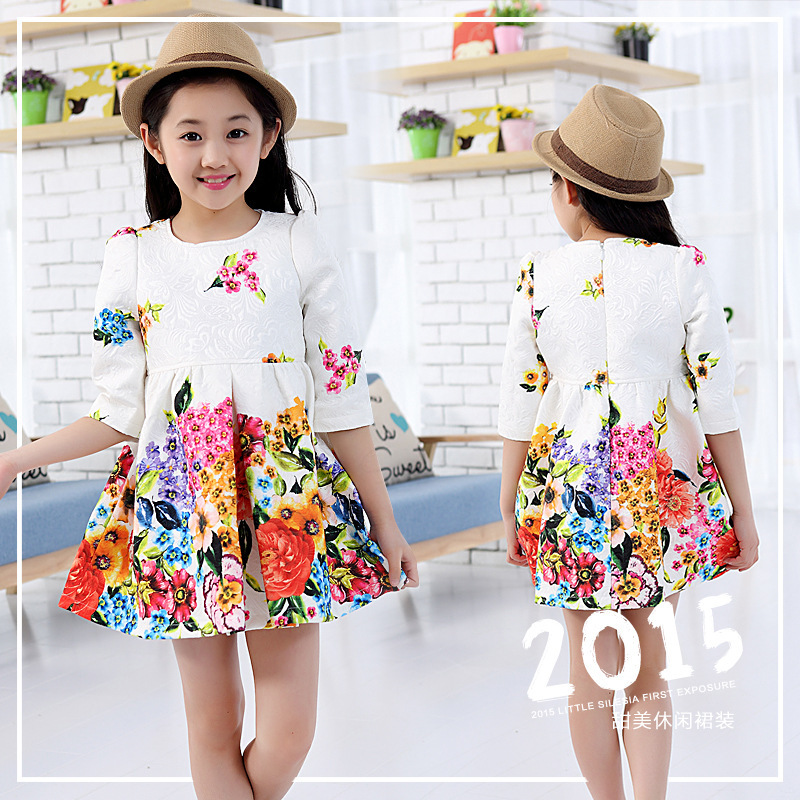2015 New Summer 4-13 Y Print Pattern Casual High Quality Floral Cotton Lace Little Girl Dress NG62(China (Mainland))