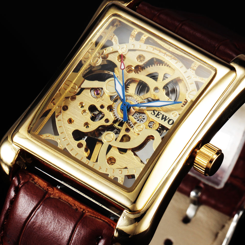 Rectangular Mens Watch vintage military skeleton wrist watches Hand wind mechanical watches leather brand relogio masculino<br><br>Aliexpress