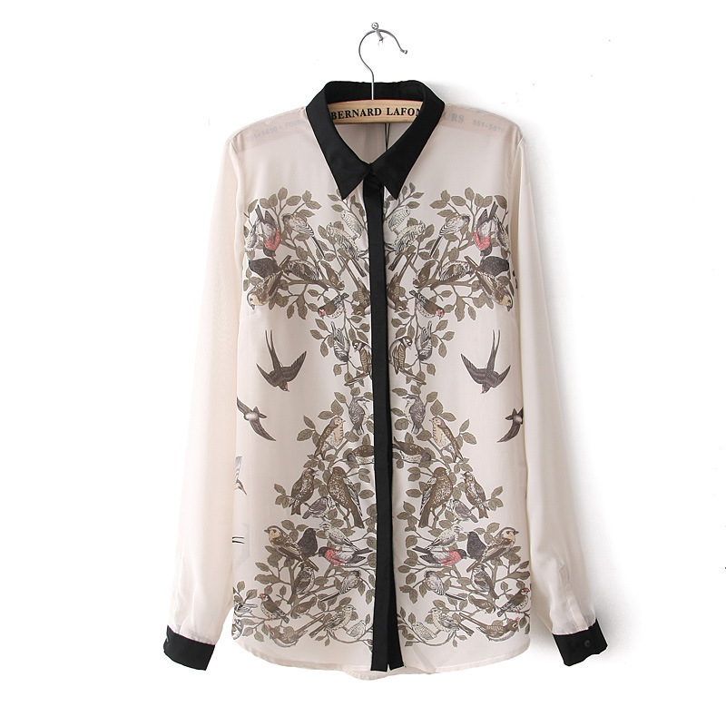 Blusas Femininas 2015 Spring Summer Fashion Hot Work Wear Shirt Women's Casual Beige Tops Long Sleeve Birds Print Chiffon Blouse(China (Mainland))