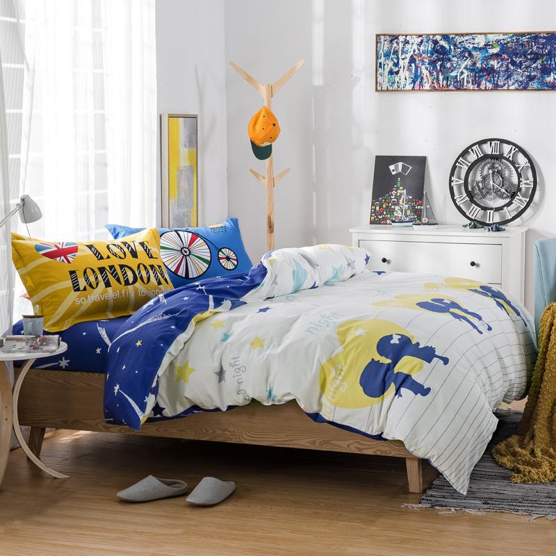 "100% cotton two lovers 4 Pce 78""x90"" Duvet Doona Cover Set by flat sheet pillowcase/boys/girls bedding set QUEEN blue(China (Mainland))"
