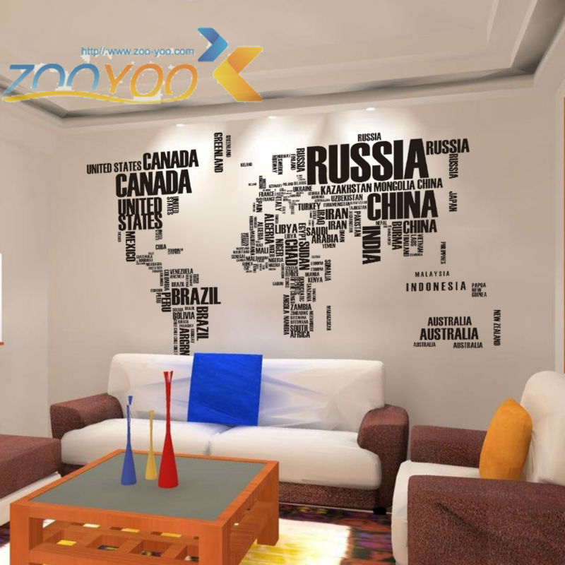 Creative letter map world home decor wall decal ZooYoo95AB decorative adesivo de parede removable pvc sticker & - Shanghai Paradise decoration store