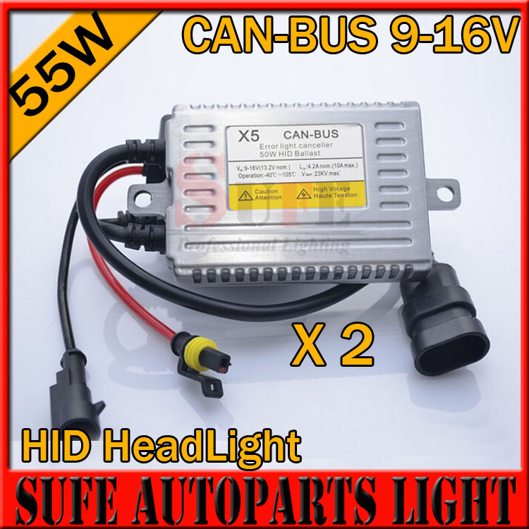 Free Shipping Top Quality 2PCS X5 55W CANBUS Ballast 12V AC HID Xenon Kit for Any Xenon Bulb Car Headlight Error Light Canceller(China (Mainland))