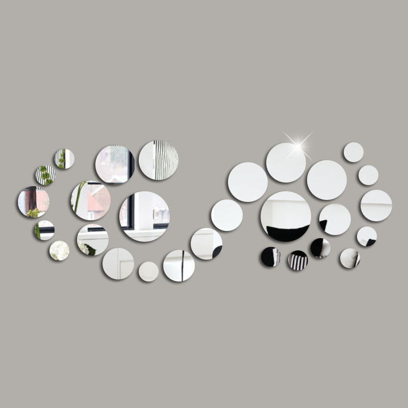 The Seventh Generation New Design Reflective DIY 28 Pcs Rounds Mirror 3D Wall Stickers Home Decoration Wall Bedroom Decor(China (Mainland))