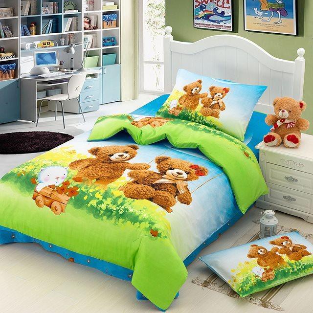 Cartoons Bedroom Sets For Teenagers : Teddy bear cartoon cute bedding set for Kids children twin size ...