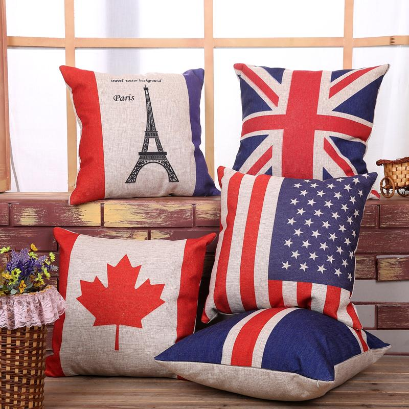 Free Shipping Blue New Zealand Flag Cotton Linen Fabric Decorative Cushion 45cm Hot Sale New Home Fashion Christmas Gift Pillow