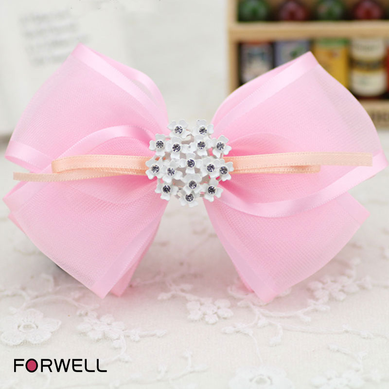 2016 cloth art barrettes hair accessories for girls women handmade pink bow knot hair clip rhinestone hairpin hair ring headwear(China (Mainland))