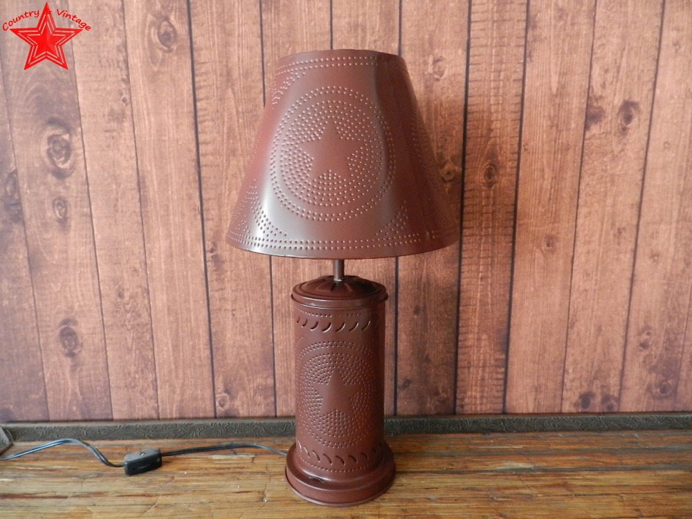 Primitive Country Burgundy Tin Star Table Lamp With Punched Tin Lampshade(China (Mainland))