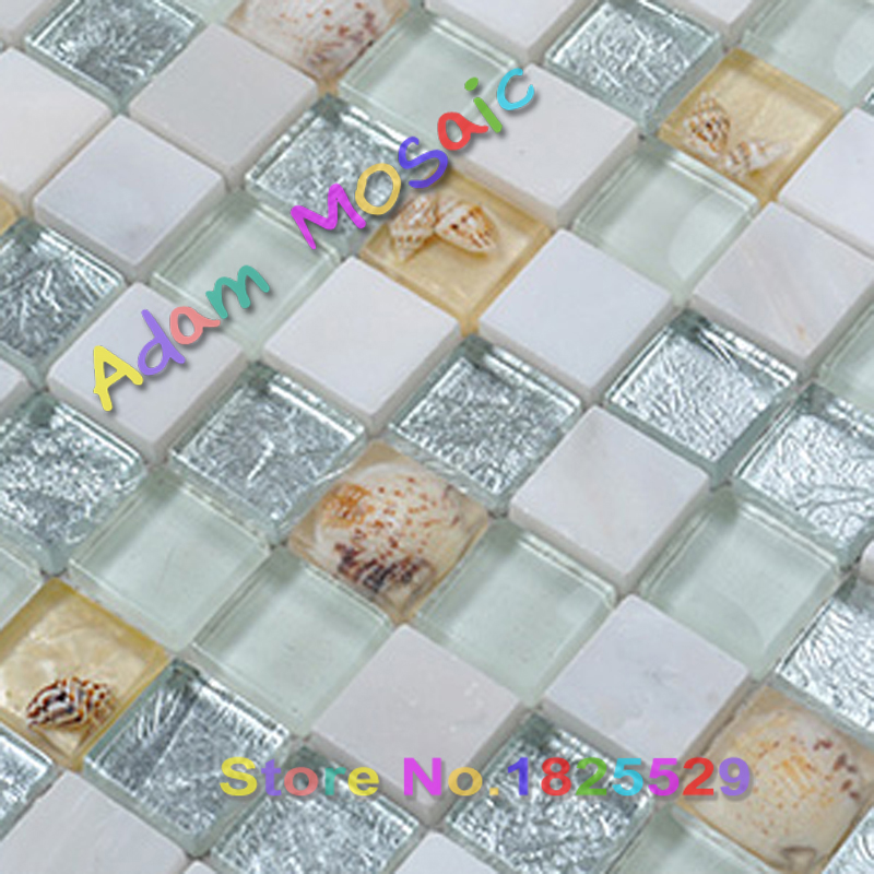 white sea shell stone tile mother of pearl tiles blue green glass conch beige travertine marble kitchen backsplash bathroom wall(China (Mainland))
