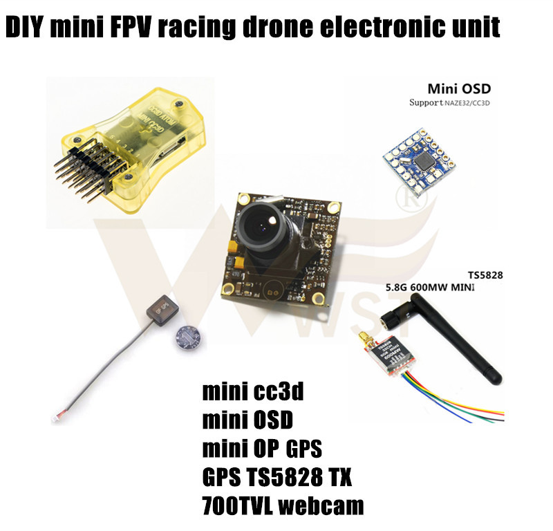 DIY mini racing drone electronic unit mini CC3D+GPS+OSD+5.8G 600MW TX+700TVL HD webcam for QAV250/ZMR250/ROBOCAT 270/NIGHTHAWK(China (Mainland))