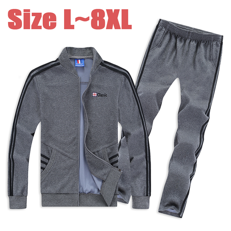 6XL 7XL 8XL Winter/Autumn Sportswear Suit Men Casual Tracksuit Men Cotton Hoodies Set Jacket+Pants 2PCS Sweatshirts Men SP033