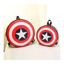 2015 Freeshipping+ fashion style roundness captain America backpack high-capacity relaxation bag men and women small backpack(China (Mainland))