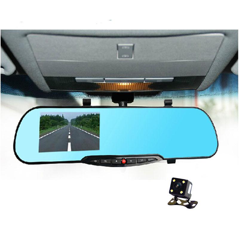 4.3 inch Blue Mirror Dual lens car auto dvr camera 1080p parking dvrs car video recorder with rear view camera Motion Detection(China (Mainland))