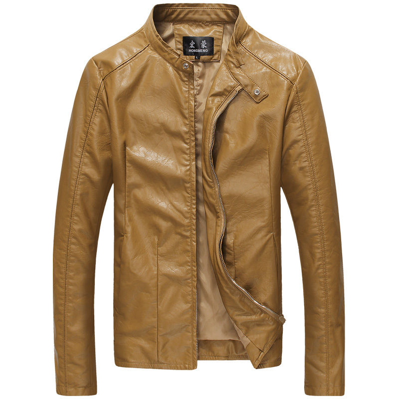 New 2015 autumn classic style micro elastic casual motorcycle leather jacket men plus size 6xl jaqueta de couro masculino /PY16(China (Mainland))