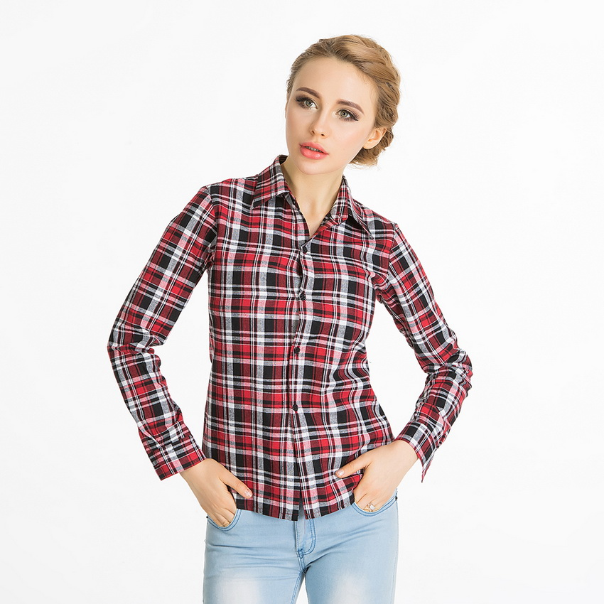 6xl spring 2016 cotton blend red plaid shirt women autumn Womens red tartan plaid shirt