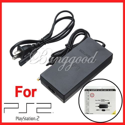 New Black Convenient AC Adapter Charger Power Supply Cable Cord Supply For Sony PlayStation 2 PS2 70000 90000 Slim Free Shipping(China (Mainland))