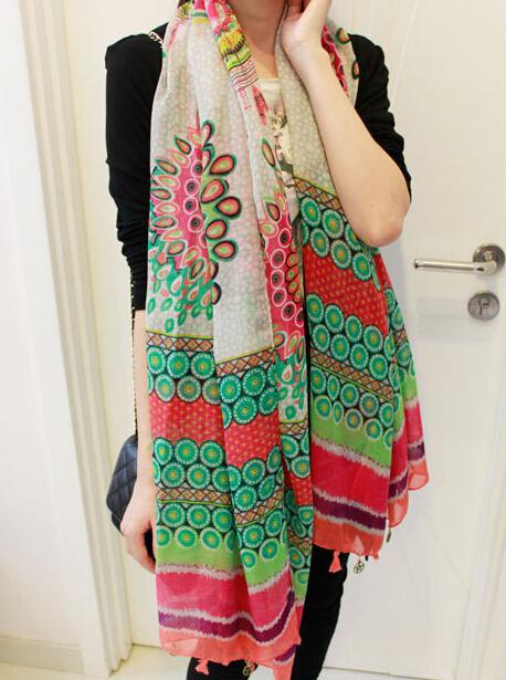 Европа и нью-пятиконечная звезда кулон кисточкой чешского подсолнухи хлопок вуали шарфы солнцезащитный крем шаль
