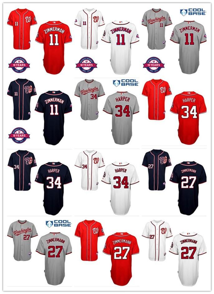 2015 Washington Nationals 31 Max Scherzer 34 Bryce Harper 11 Ryan Zimmerman 27 Jordan Zimmermann Baseball Jersey W10th Patch(China (Mainland))