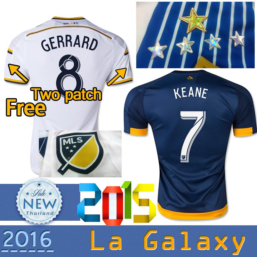 Best Thailand Quality 2015 2016 Los Angeles Galaxy Home away soccer Jersey LA Galaxy GERRARD KEANE ZARDES BECKHAM football Shirt(China (Mainland))