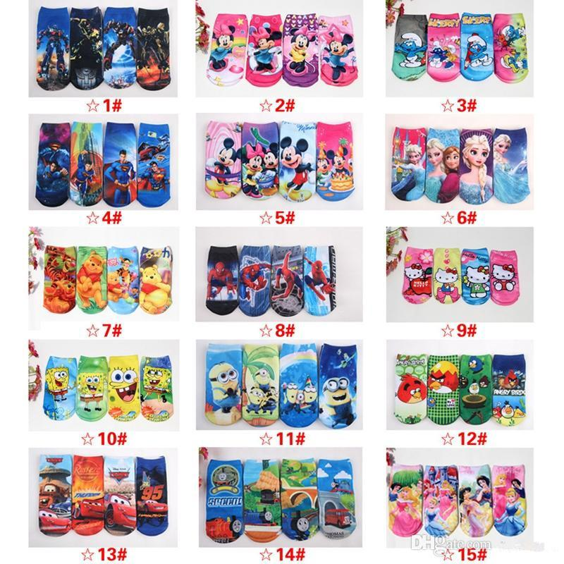 Superman minion Spider-Man kids socks Transformers childrens socks Minnie kids socks wholesale Christmas gift free shipping(China (Mainland))