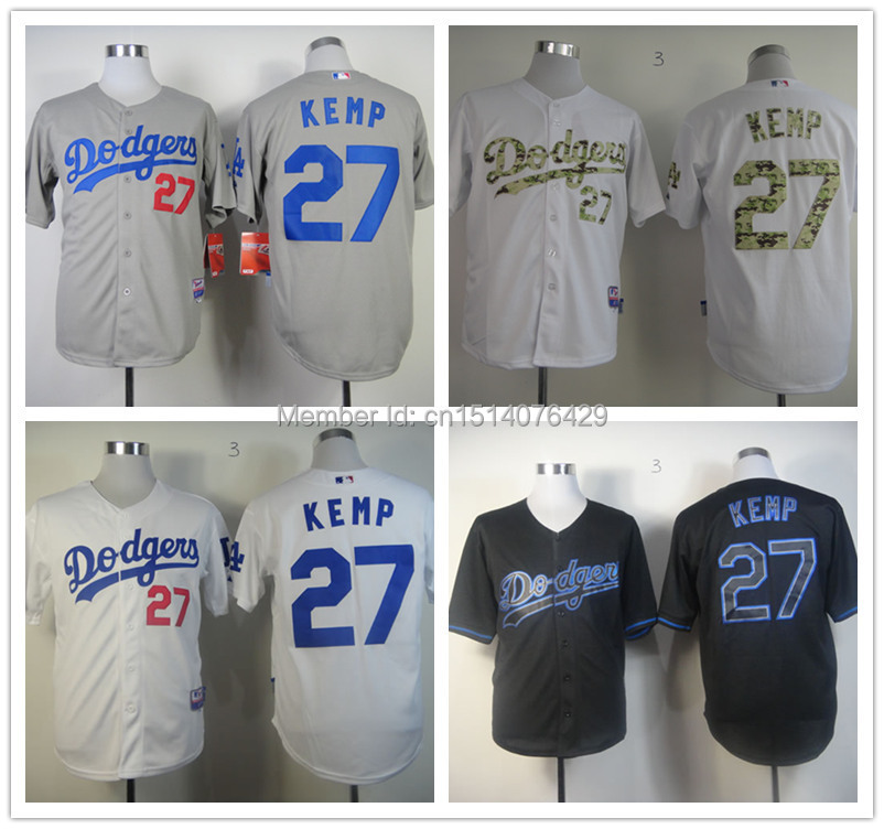 Free Shipping Los Angeles Dodgers Jerseys 27 Matt Kemp Men's Black/Grey/White Baseball Jersey,Embroidered Logos,Size:M-XXXL(China (Mainland))
