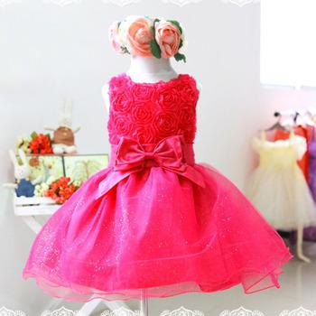 Девушки малышей 3D цветок пачки слоистых платье без рукавов ну вечеринку свадебное платье 2 - 7 г