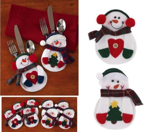 Гаджет  Snowman Christmas Xmas Silverware Tableware Dinner Party Decor Cutlery Holder None Дом и Сад
