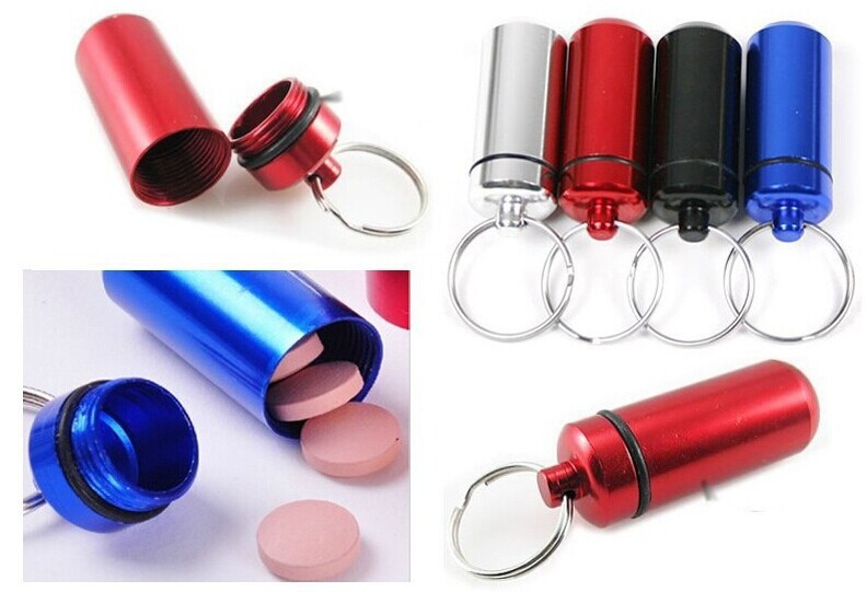 Hot Aluminum Waterproof Pill Shaped Box Bottle Holder Container Keychain Keyring(China (Mainland))