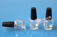 Wholesale 50pcs 3ml Empty Refillable Round Nail Polish Bottles Clear Glass With Agitator Black Cap(China (Mainland))