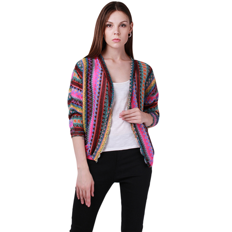 Spring Women Cardigan Sweater Lady Ethnic Colorful Rainbow Weave Stripe Knitted V Neck Cardigans Coat Free Size DP650925(China (Mainland))