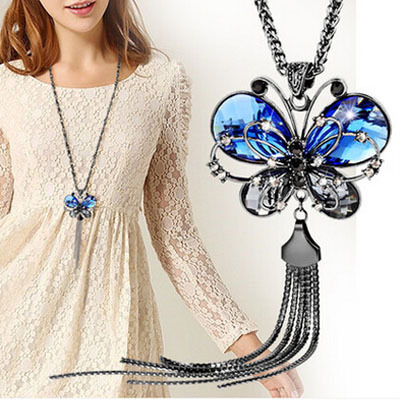 2015 New Fashion Women Long Chain Necklace Animal Blue Crystal Jewelry Butterfly Necklace Pendant Valentine's day Jewelry(China (Mainland))