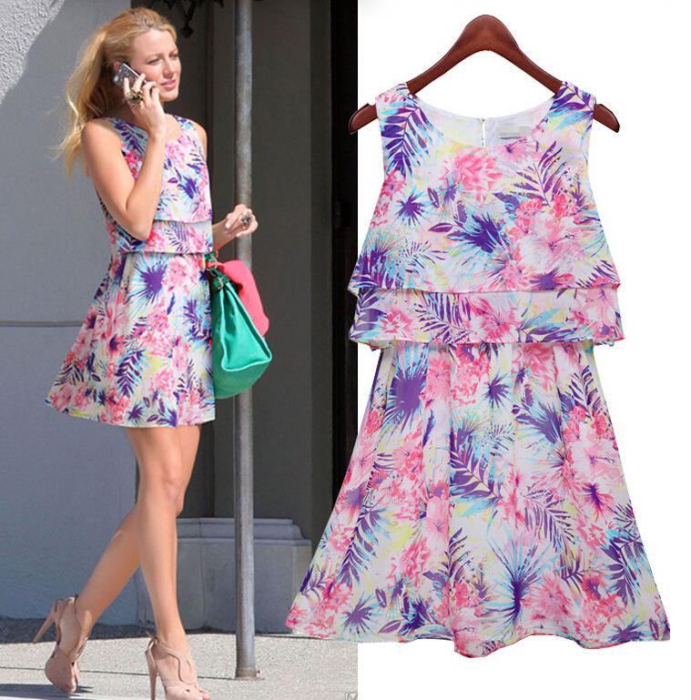 Summer dress 2015 New Fashion Sexy Women's dress Floral printed vestidos chiffon Dress Sleeveless bodycon Evening longos Dress(China (Mainland))