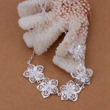 New Listing Hot selling silver plated retro charm flowers Necklace Fashion trends Jewelry Gifts