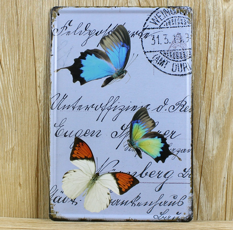 Free shipping animals Butterfly Metal Tin Signs Vintage House Cafe bar Restaurant Poster retro Painting plates hot sale 20x30cm(China (Mainland))