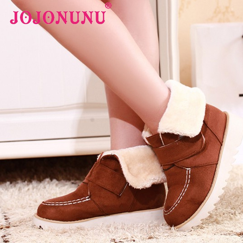 women flat half short ankle boots winter snow boot platform cotton sweet velcro footwear warm botas shoes P19549 size 33-43