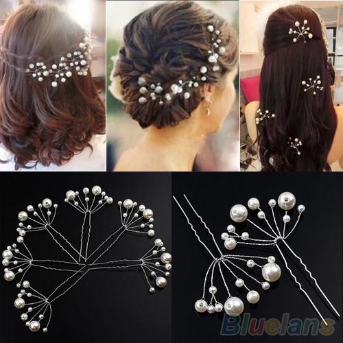 Fashion New Wedding Bridal Bridesmaid Pearls Hair Pins Clips Comb Headband 1OS3 3E45(China (Mainland))