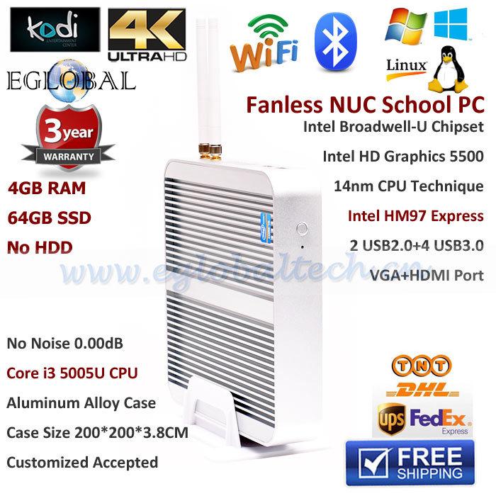 Fanless Nuc School PC Intel Core i3 5005U HD5500 GPU Mini PC Samsung 4GB RAM 1600MHz 64GB SSD 300M WiFi Windows10 Small Computer(China (Mainland))