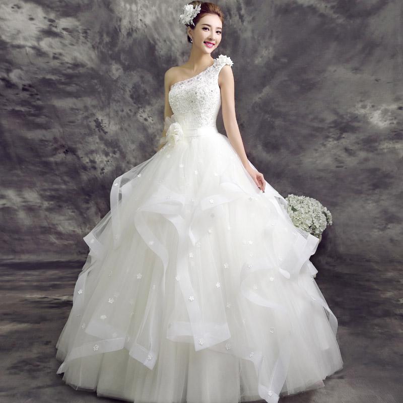3 Tiered Lace Wedding Dress : Free shipping women wedding dress fashion one shoulder