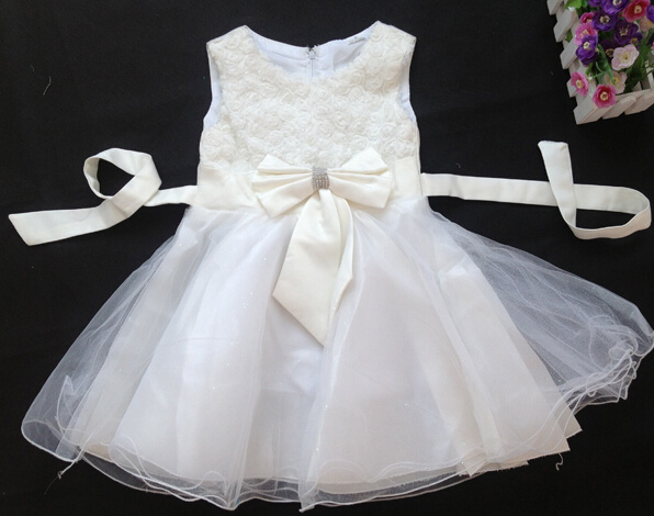 Baby Girls Rose Flower Party Dress Kids Princess Wedding Birthday Gift White Color Elegant Clothing(China (Mainland))